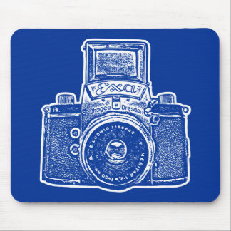 Giant East German Camera - Dark Blue and White Mouse Pad