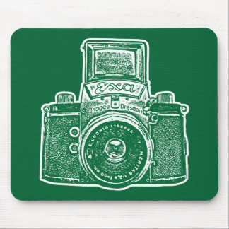 Giant East German Camera - Forest Green and White Mouse Pad