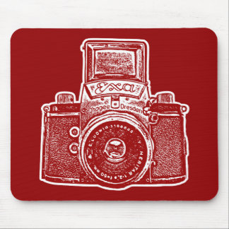 Giant East German Camera - Maroon and White Mouse Pad