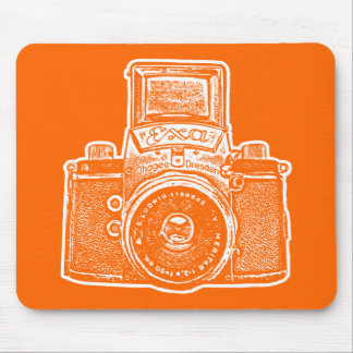 Giant East German Camera - Orange and White Mouse Pad