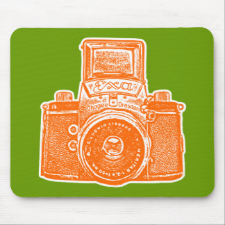 Giant East German Camera - Orange, White and Green Mouse Pad