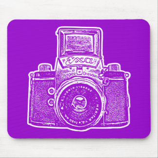 Giant East German Camera - Purple and White Mouse Pad