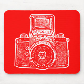 Giant East German Camera - Red and White Mouse Pad