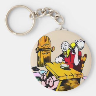Giant Eats His Supper Round Keychain