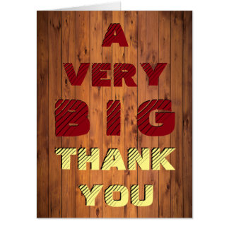 Giant Faux Cherry Wood Simulated Carved Thank You Card