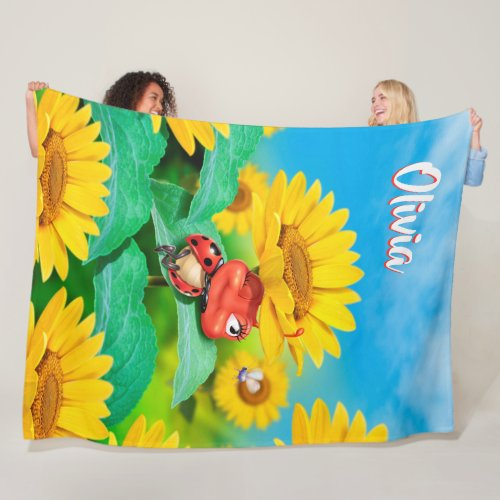 "Giant Fleece blanket (80 x 60"") Ladybug Sunflowers"
