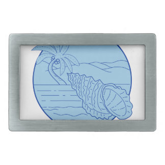 Giant Frog Shell Beach Palm Tree Circle Retro Belt Buckle