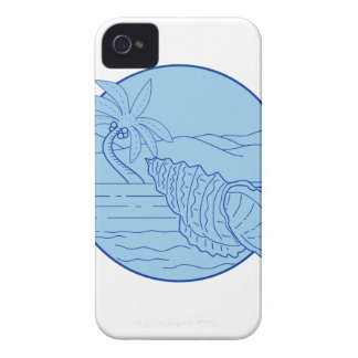 Giant Frog Shell Beach Palm Tree Circle Retro iPhone 4 Cover