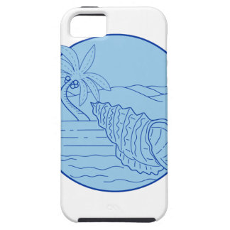 Giant Frog Shell Beach Palm Tree Circle Retro iPhone SE/5/5s Case