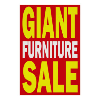 GIANT FURNITURE SALE - RETAIL POSTER SIGN