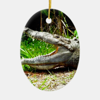 Giant gator with his mouth open ceramic ornament