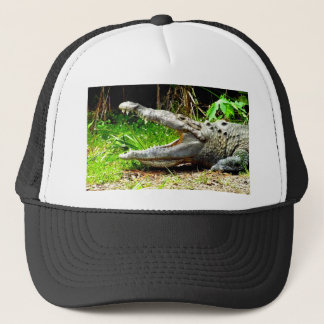 Giant gator with his mouth open trucker hat