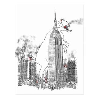 Giant Goat Attack in New York Funny Animal Art Postcard