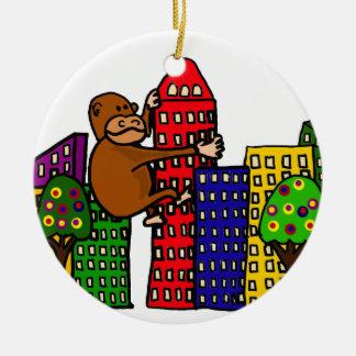 Giant Gorilla Hugging Tall Building Ceramic Ornament