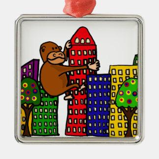 Giant Gorilla Hugging Tall Building Metal Ornament