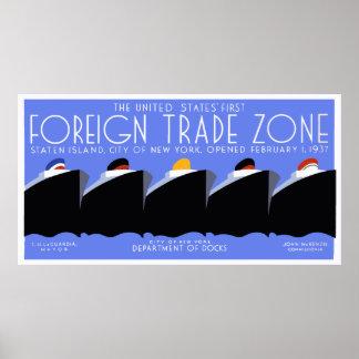 Giant Horizontal banner Art Deco New York Harbor Poster