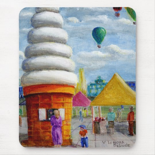 Giant Ice Cream Cone Carnival Landscape Mouse Pad