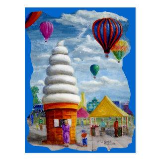 Giant Ice Cream Cone Carnival Landscape Postcard