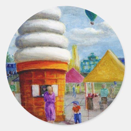 Giant Ice Cream Cone Carnival Landscape Sticker