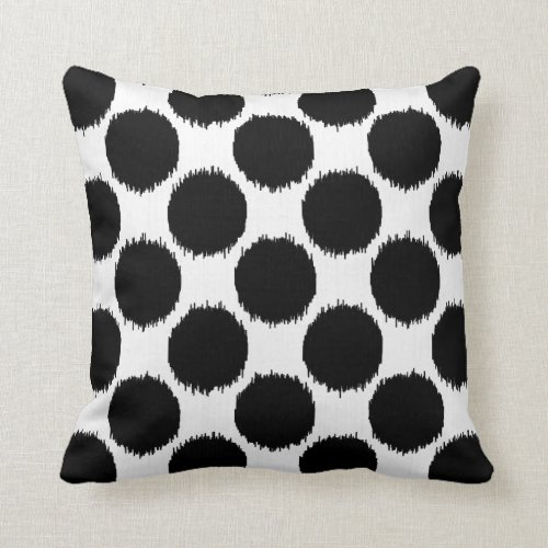 Giant Ikat Dots, black dots on a white background Pillow