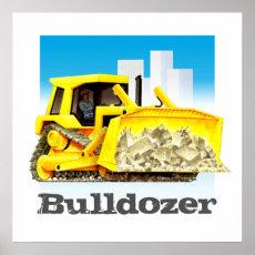 Giant Kid's Construction Trucks - Yellow Bulldozer Poster