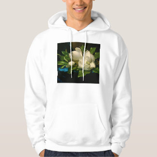 Giant Magnolias on a Blue Velvet Cloth Hoodie