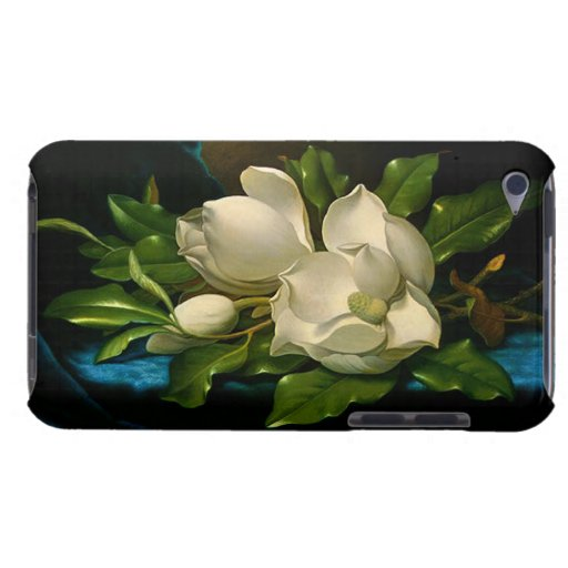 Giant Magnolias on a Blue Velvet Cloth iPod Case Barely There iPod Covers