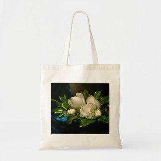 Giant Magnolias on a Blue Velvet Cloth Tote Bag