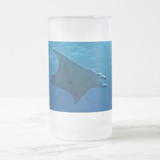 Giant Manta Ray Frosted Glass Beer Mug