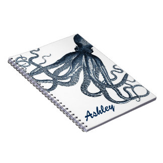 Giant Navy Blue Octopus Steampunk Personalized Notebook