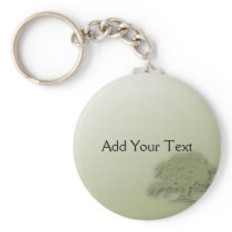 Giant Oak on Green Field Keychain