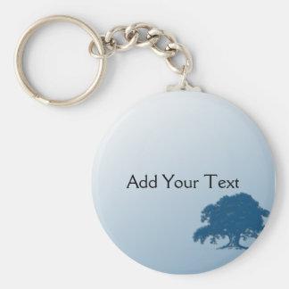 Giant Oak Tree on Blue Field Keychain