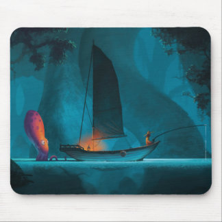 Giant octopiss spying on a fisherman. mouse pad