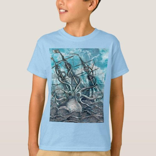 Giant Octopus Blue Sea Monster Sailboat T_Shirt