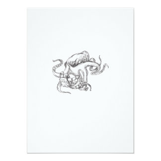 Giant Octopus Fighting Astronaut Tattoo Card