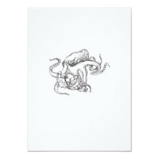 Giant Octopus Fighting Astronaut Tattoo Card