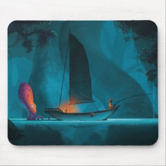 Giant octopus spying on a fisherman mouse pad