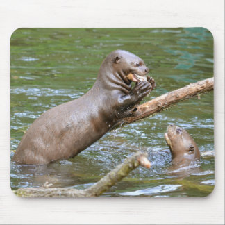 Giant otter eating a fish mouse pad