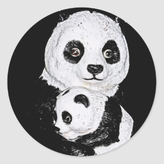 Giant Panda and Cub, Style 2 Classic Round Sticker