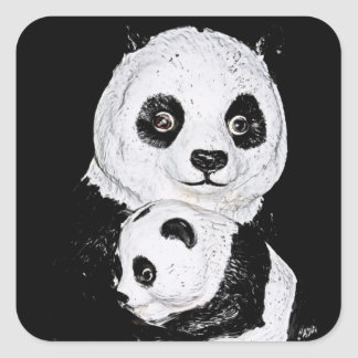 Giant Panda and Cub, Style 2 Square Sticker