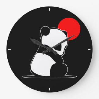 Giant Panda and Red Sun Large Clock
