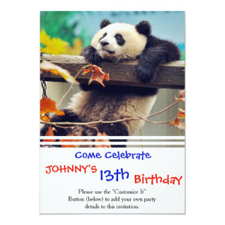 Giant panda baby over the tree card
