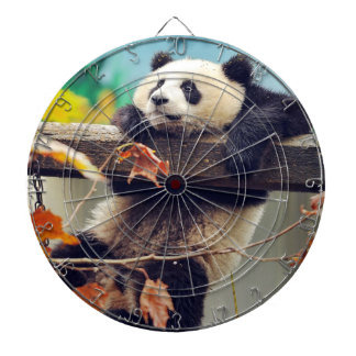 Giant panda baby over the tree dartboard with darts