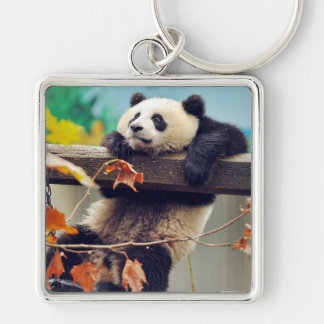 Giant panda baby over the tree Silver-Colored square keychain