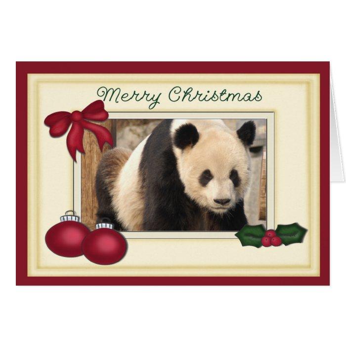 Giant Panda Bear Baby Panda Christmas Card Zazzle