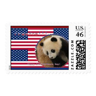Giant Panda Bear Patriotic Postage