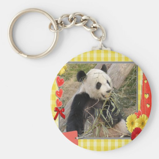Giant Panda Bear Valentine Keychain