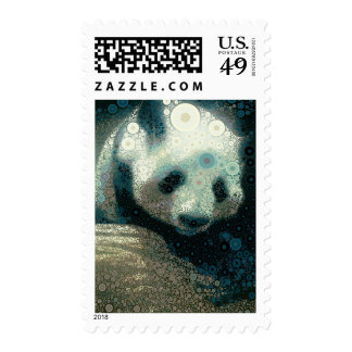 Giant Panda Concentric Circles Blue Postage