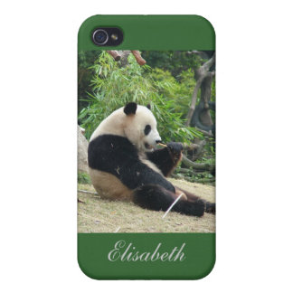 giant panda eating bamboo, add your name iPhone 4/4S covers
