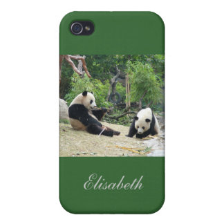 giant panda eating bamboo, add your name iPhone 4 covers